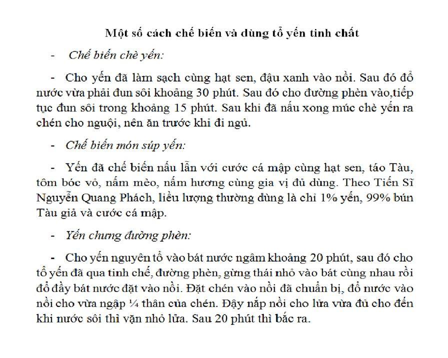 Cách chế biến tổ yến sào Khánh Hòa