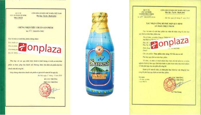 Giấy chứng nhận của nước yến sanest Khánh Hòa