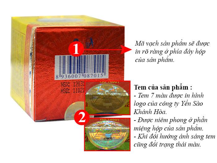 Nước yến sào nhân sâm Khánh Hòa với logo thương hiệu công ty và mã vạch.