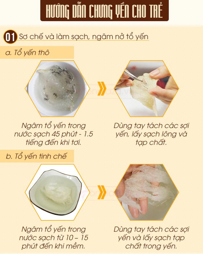 Sơ chế và làm sạch tổ yến trước khi chưng