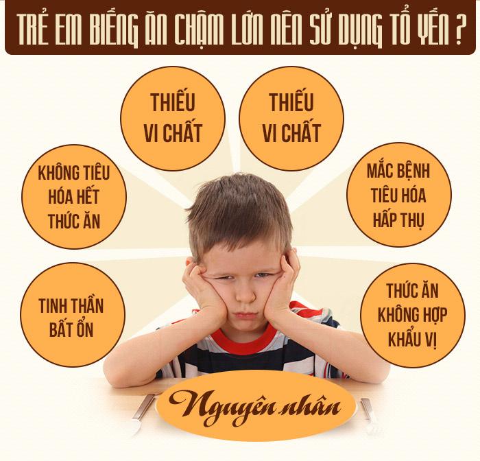 Trẻ em biếng ăn chậm lớn nên sử dụng tổ yến
