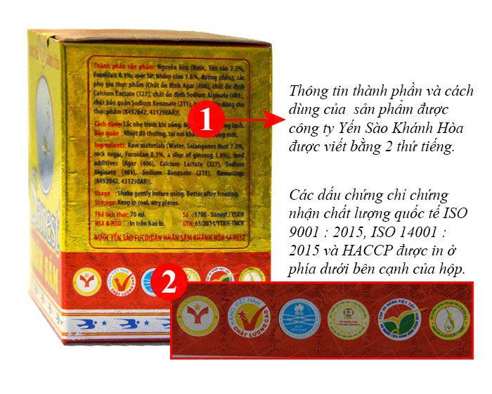 Thành phần được in với 2 ngôn ngữ có in chứng chỉ về chất lượng kèm theo.