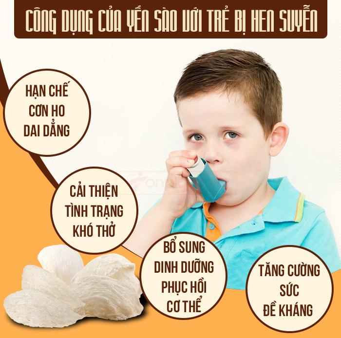 Công dụng của yến sào với trẻ bị hen suyễn